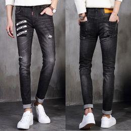 Wholesale Jeans Patch Boy - Men Jeans Pencil Pants Letters Embroidery Patches Casual Slim Leg Boys Male Yong Man Denim Trousers Solid Black Quality