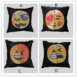 Wholesale Funny Pillow Cases - New Emoji Cushion Cover Reversible DIY Sequin Mermaid Pillow Case Funny Changing Smiley Faces Decorative Pillowcase