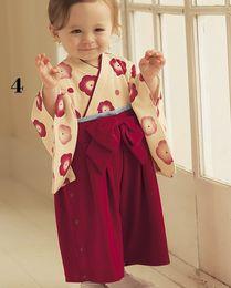 Wholesale Kimono Baby Cotton - Wholesale-Floral Baby Girls Rompers Japan Korea Kimono Clothes Baby Dresses Overall 100% Cotton Top Quality