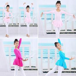 Wholesale One Piece Dancewear - One Piece Spandex Gymnastics Tutu Leotard Skate Long Sleeve Girls Kid Ballet Dance Dress Dancewear