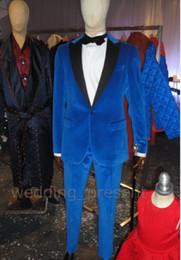 Wholesale Designer Mens Slim Fit Tuxedo - Wholesale - Royal Blue Velvet Tuxedos For Men Slim Fit Mens Wedding Tuxedo Custom Made Designer Mens Suits (Jacket+Pants+Bow Tie)