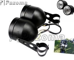 Wholesale Head Light Yamaha - PAZOMA Motorcycle Headlight Streetfighter Cafe Racer Universal Black Matte Center Beam H4 Bulb Twin Dominator Dual Vision Head light