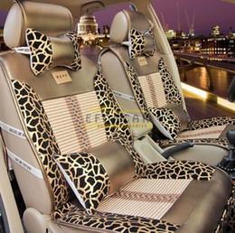 Wholesale Leopard Car Accessories Set - New Luxury Elegant Leopard Car Seat Cover Set Standard Auto Accessories Covers PU Leather Car Seat Cushion