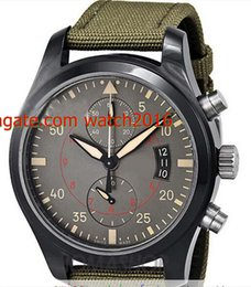 Wholesale Pilots Watches - Factory Supplier with Brannd box Top quality Luxury 46 mm Pilots Anthracite Dial Chronograph Ceramic and Titanium 3880-02 Men Men's watch