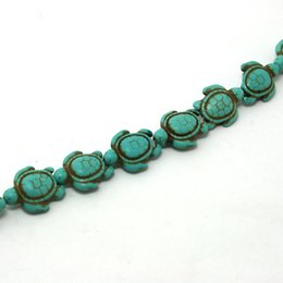 """Wholesale Howlite Turquoise Gemstone Beads - 10str(approx 240pcs)- 14x17mm Gemstone Beads Howlite Turquoise Turtle Stone Loose Beads Fit Necklace Bracelet Jewelry Beads 15"""" DH-BTB193-44"""