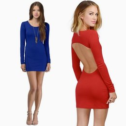 Wholesale Elastic Puff Long Sleeve - Spring Autumn Hot Sell,Free Shipping,Occident Women's Solid Color Simple off shoulder Dress,Elastic Backless Strap Dress,Size S-L,2 Colors