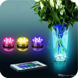 Wholesale Colorful Fish Tank Decorations - Remote Controlled Submersible Vase Fish Tank Decoration Lamp 10 LED Colorful Changed Waterproof Night Lights For Wedding Holiday Party Decor