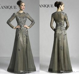 Wholesale Vintage Grey Mother Dress - 2016 Janique Dark Grey Winter Long Sleeves Mother of the Bridal Dresses Sheer Crew Neck Lace Flowers A-line Floor Length Evening DressBO9638