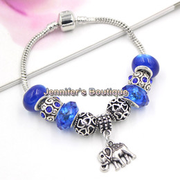 Wholesale Beads Elephant Bracelet - Made In China Jewelry Wholesale Brand New DIY Navy Blue Beads Animal Elephant Charm Bracelets European Charms Free Shipping