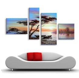 Wholesale Best Abstract Oil Paintings - handmade oil painting on canvas modern 100% Best Art Seascape oil painting directly from artis