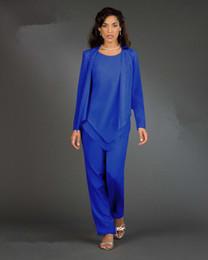 New Real Image Dames Designer 3 pièces / ensemble bleu en mousseline de soie mère de la mariée pantalon costumes manches longues femmes robes de soirée Lady robes de soirée ? partir de fabricateur