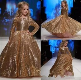 Wholesale T Shirts For Little Girls - New Sparkly Gold Sequined Little Girl Pageant Dresses Jewel Neck Long Sleeve Kids Formal Wear Flower Girls Dress for Weddings