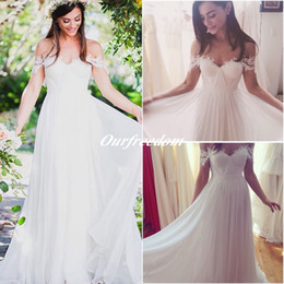 Wholesale beach wedding reception dresses - Sexy Bohemian Sweetheart Lace Wedding Dresses 2016 Summer New A Line Chiffon Pleated Beach Garden Bridal Gown Wedding Reception Dresses