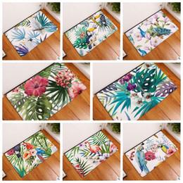 Wholesale European Floor Rugs - 8 Styles 40*60cm Flamingo Printed Birds Floor Rug for Bedroom Bathroom Mats Kitchen Entrance Water Absorption Non-slip Carpets CCA7922 30pcs