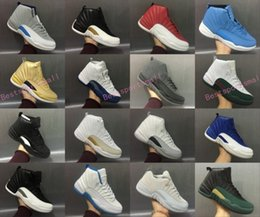 Wholesale Red Light Taxi - 2017 air retro 12 XII basketball shoes ovo white Flu Game GS Barons wolf grey Gym red taxi playoffs gamma french blue sneaker