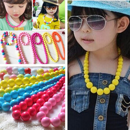 Wholesale multi color round beads - Baby Girls Accessories Colorful Pure Color Bead Necklace Jewelry Multi-color Candies Bead Children Necklace Round Necklace 20pcs lot A1524