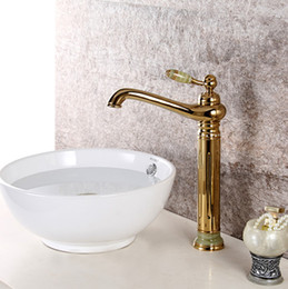 Wholesale Vessel Sinks Stone - Free shipping Ti-PVD Finish Brass Bathroom tall vessel sink stone crystal Faucet mixer tap