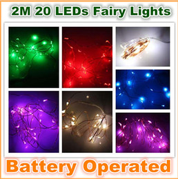 Wholesale Sparkling Lights Battery Operated White - whole sale New 2M 20 LEDs Battery Operated Mini LED Copper Wire String Fairy Sparkle Lights Party Xmas 50pcs lot
