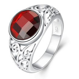 Wholesale Asian Filigree - Red Zirconia Ruby Stone Inlaid Silver Filigree Dome Band Ring Women Cocktail Party Ring US Size#7 8