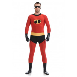 Wholesale Men Party Themes - Theme Costume Red Factory Direct Cheap Mr Incredible Catsuit Costume Halloween Cosplay Party Prom Super Hero Zentai Suit TAC27