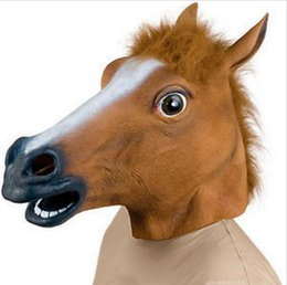 Wholesale Halloween Costume Head Mask - Halloween Party Latex horse head mask high quality Novelty Creepy Horse Head latex Rubber Costume Theater Prop Party Mask silicone mask T235