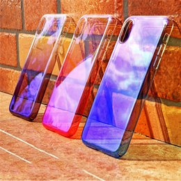 Wholesale Plastic Mirror Material - Blue_ray Mirror Plating Gradient Color Slim Plastic Material Protection Transparent Shockproof Back Cover Case For iPhone X 8 7 Plus 6 6S