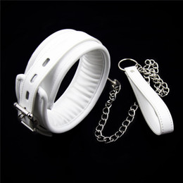 Wholesale Bandage Sex Games - White PU Leather Neck Collar With Chain Slave Bandage Restraints Sex Toys For Couples Adult Games