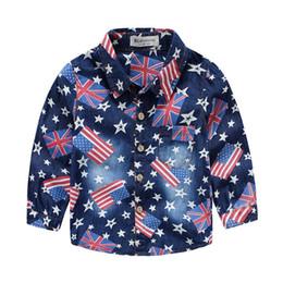Wholesale Toddlers Denim Shirt - New arrival 2016 Spring 100%cotton denim shirts flag print baby kids toddler clothing T shirt boy long sleeve Brand free shipping