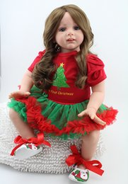 """Wholesale Cute Old Fashioned Girl Dresses - NEW lifelike baby dolls for children 24"""" 60CM cute girl silicone reborn with red dress long hair boneca baby alive girls toys"""