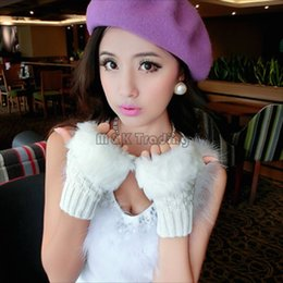 Wholesale Gloves Computer - Fluffy Fingerless Gloves Faux Rabbit Fur Crochet Gloves Christmas Knitted Warm Computer Tounch Gloves Fashion Free The Fingers