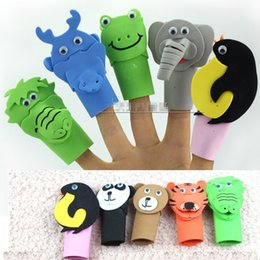 Wholesale Puppet Frog - EVA Animal Finger Puppets for Baby ,Horse Tiger Panda Pear Frog Cow Penguin Elephant Dragon Set Toy Story Puppet Education Gift