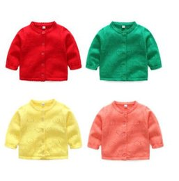 Wholesale Infant Girl Cardigans - Toddler kids cardigans Spring Baby girls hollow out love hearts sweater Infants lace O-neck single breasted outwears Newborn clothes C2436