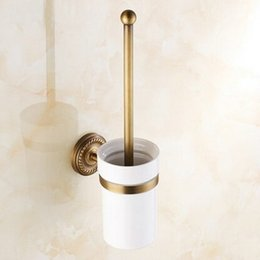 Wholesale Brass Toilet Brush - Wall Mounted Antique Brass Finished Bathroom Accessories Toilet Brush Holders WC55