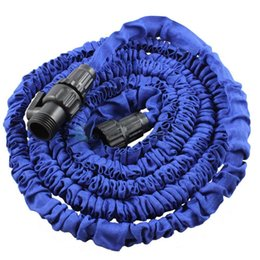 Wholesale Expandable Flexible 25 - Wholesale- EE support 25 50 75 100FT Blue Magic Flexible Expandable Anti-wear Water Hose With Valves (Without Nozzle Gun) XY01