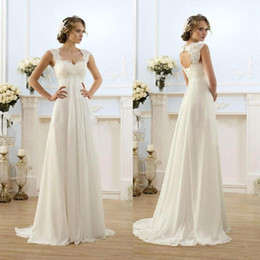 Wholesale Chiffon Dresses Empire Waist - Vintage Modest Wedding Gowns Capped Sleeves Empire Waist Plus Size Pregant Wedding Dresses Beach Chiffon Country Style Bridal Gown Maternity
