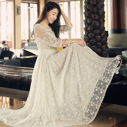 large ball party Promo Codes - New Women Party Dresses 2015 Summer Spring Large skirt Casual Lace Long Dress Plus Size