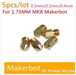 Wholesale Extruder Head - With Tracking Number 5pcs lot 3D Printer Nozzle Mixed Sizes 0.2mm 0.3mm 0.4mm Extruder Print Head For 1.75MM MK8 Makerbot top sale free ship