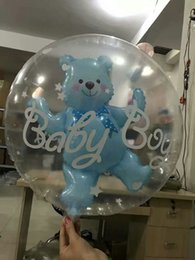 Wholesale Baby Blue Balloons - 4pcs 24inch Inflatable balloons big clear bear ballon globo transparent 1st Birthday baby 100 days party decorations boy girl