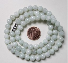 Wholesale Certified Jade - CERTIFIED (Grade A) Natural Light Green Jadeite JADE Round Beads Necklace #N161