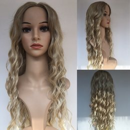Wholesale Long Blond Hair Wigs - Fashion Long Wavy Blond African American Wigs Fiber Afro Wigs Synthetic Full Wigs For Black Women None Lace Hair Y demand
