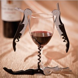 Wholesale Stainless Steel Bottle Openers - 100pcs lot Wine Corkscrew Opener Stainless Steel Bottle Opener Wine Corkscrew Tool Easy Use DHL free