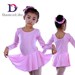 Wholesale China Long Skirts - Free shipping Child long sleeve ballet dance dress C2127 wholesale shiny lycra skirted leotard ballet dress dance costumes supplier china