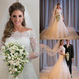 Wholesale Bridal White Short Mini Dress - 2015 Off The Shoulder A Line Lace Long Sleeves Beach Wedding Dresses Fashion Covered Button Wedding Dress Bridal Dress for Wedding Hot sale