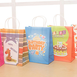 Wholesale Gift Wrapping Paper Cartoon - Cartoon Color Birthday Gift Bag Happy Birthday Baby Paper Gift Wraps Festive Party Favors Discount SD939
