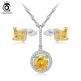 Wholesale Indian Dresses For Wedding - New Wedding Bridal Dress Accessories Jewelry Sets For Women Yellow Zircon Necklace Earrings Set for Holiday Party OS72