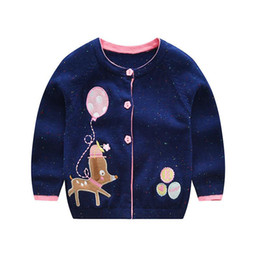 Wholesale Girls Polka Dot Cardigan - Baby infant sweater coat toddler kids cute reindeer embroidery knitting cardigan girls colorful polka dots princess outwear