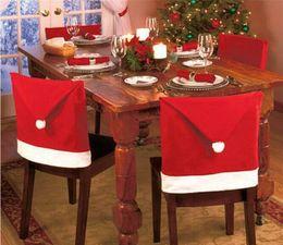 2019 copertine rosse in lycra Decorazioni per la copertura posteriore della sedia di Natale del nuovo anno 2018 Santa Clause Red Hat Sedia per ristorante Sedile Posteriore Copre Dinner Chair Cap Decor da tavola