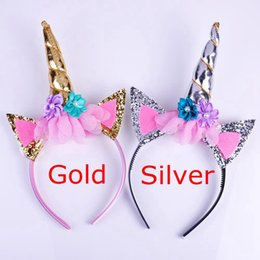 Wholesale Gold Head Dress - INS Xmas Magical Girls Kids Gold Silver Decorative Unicorn Horn Head Fancy Party Hair Headband Fancy Dress Cosplay Costume Jewelry Gift
