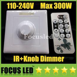 Wholesale Pwm Remote - 110V 120V 220V 240V 300W IR Knob PWM Triac LED Dimmer Switch For E14 E27 GU10 Dimmable Spotlights Downlights candle lights Panel lights