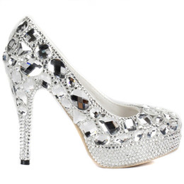 Wholesale Diamond Luxurious - Luxurious Evening Shoes Silver Platform Crystal Shoes Party Gown High Heels Handmad Diamond Rhinestone Bridal Party Shoes Prom